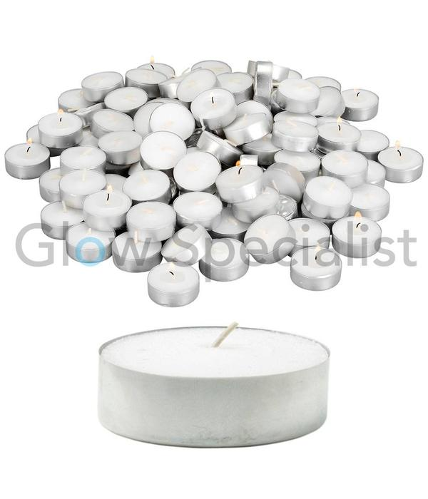 TEA LIGHTS - WHITE - 100 PIECES - 4 HOURS