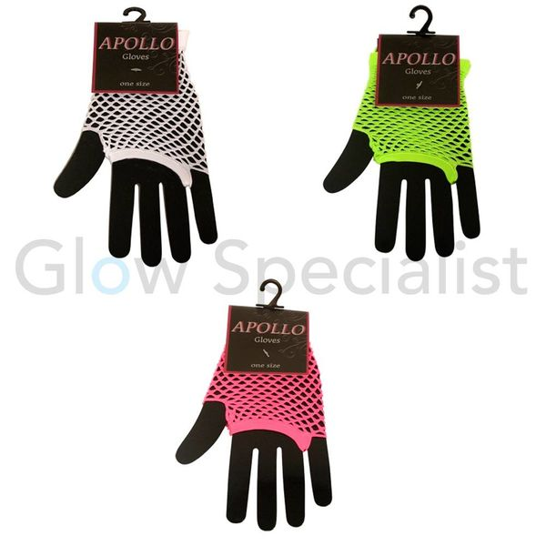 UV/BLACKLIGHT NEON HANDSCHOENEN VINGERLOOS (12 CM)