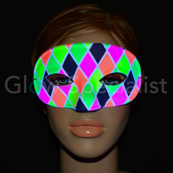 UV/BLACKLIGHT OOGMASKER - HARLEKIJN - MULTICOLOR