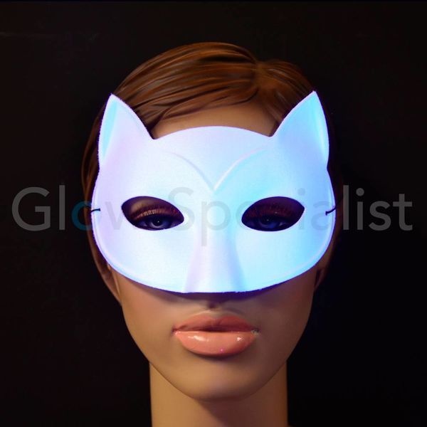 UV / BLACKLIGHT eye mask - CAT - WHITE