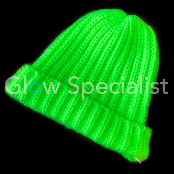 UV / BLACKLIGHT KNIT HAT - NEON GREEN