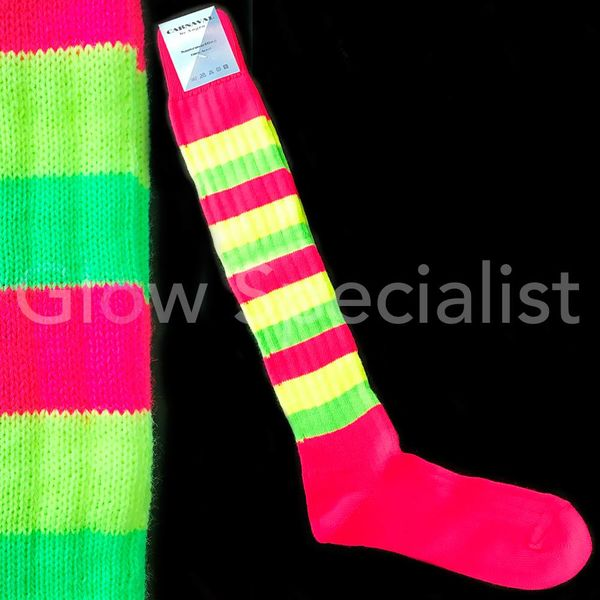 UV / NEON BLACKLIGHT SOCCER SOCKS / KNEE HIGHS - STRIPED