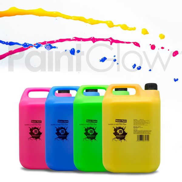 PAINTGLOW BODY SPLASH VERF - 5 LITER - 4 KLEUREN