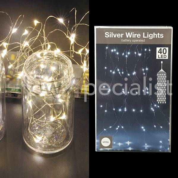 SILVER WIRE LIGHT - 40 LEDS - WHITE