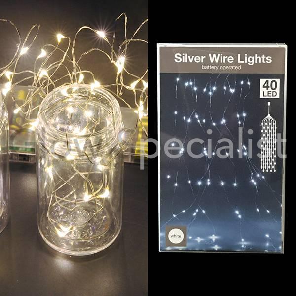 SILVER WIRE LIGHTS - 40 LED - WHITE - Glow Specialist - Glow ...