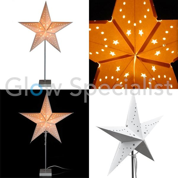 CHRISTMAS STAR WITH LIGHTING ON METAL BASE