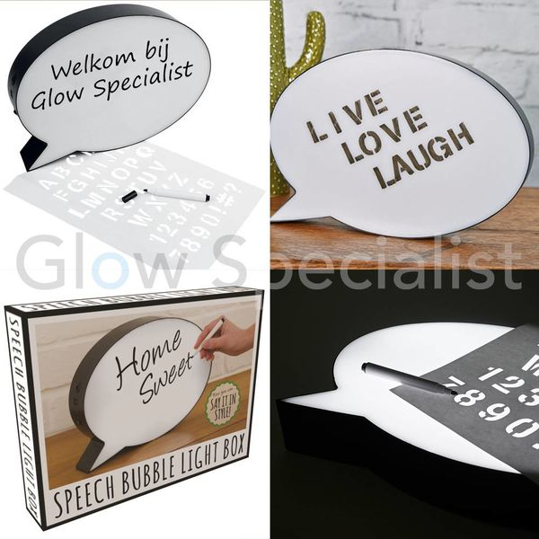 BESCHRIJFBARE SPEECH BUBBLE LIGHT BOX