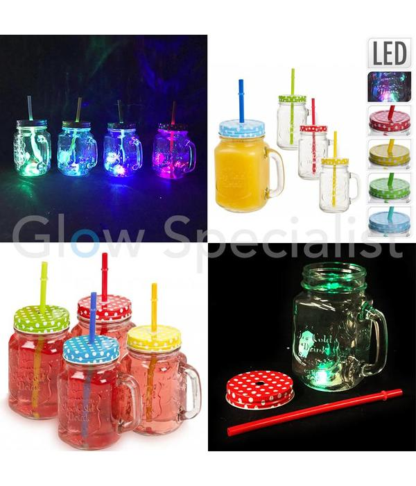 GLASS JAR - WITH STRAW AND LID - LED LIGHT
