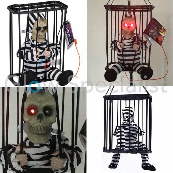 HALLOWEEN DECORATION PRISONER IN CAGE - WITH LIGHT AND SOUND