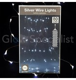 SILVER WIRE LIGHTS - 80 LEDS - WHITE