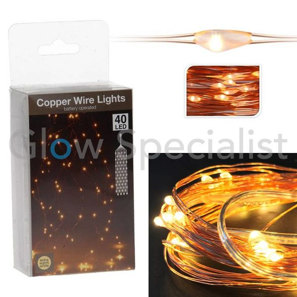 COPPER WIRE LIGHTS - 40 LED - EXTRA WARM WHITE