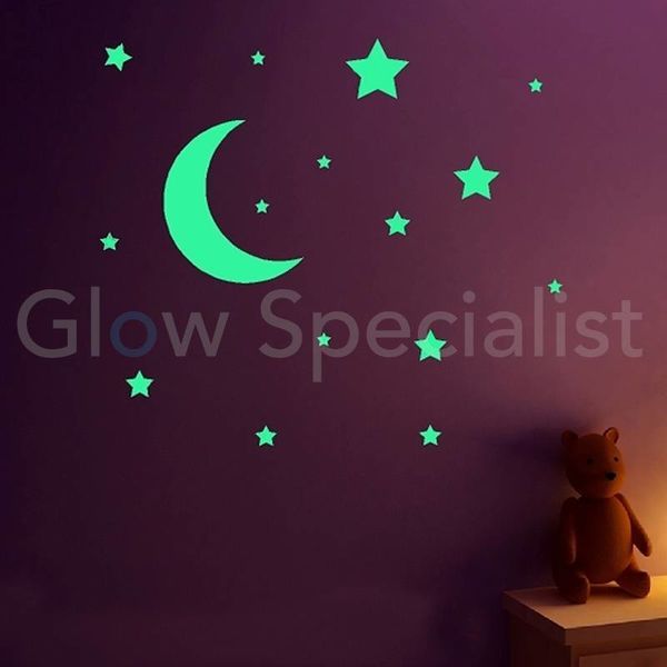 GLOW IN THE DARK MOON & STARS - 13 -PCS