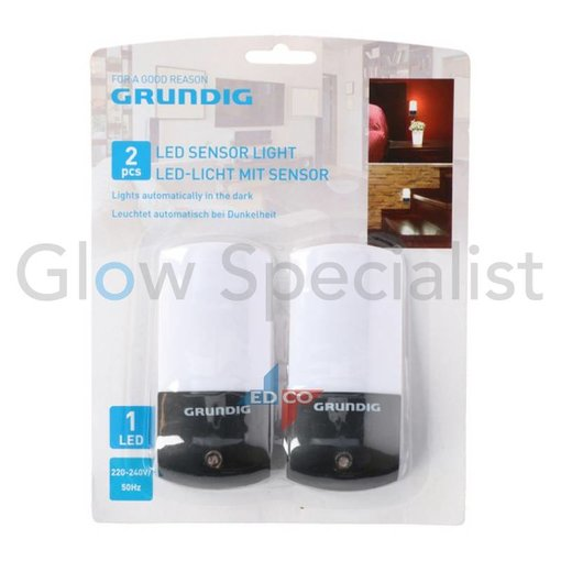 Grundig LED SENSOR DIRECT PLUG IN NIGHT LIGHT - 1 LED - SET OF 2