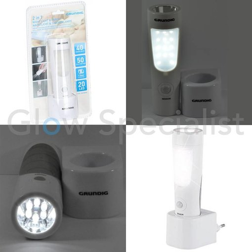 Grundig 2-in-1 LED NACHTLAMP MET BEWEGINGSMELDER EN ZAKLAMP - 14 + 6 LED