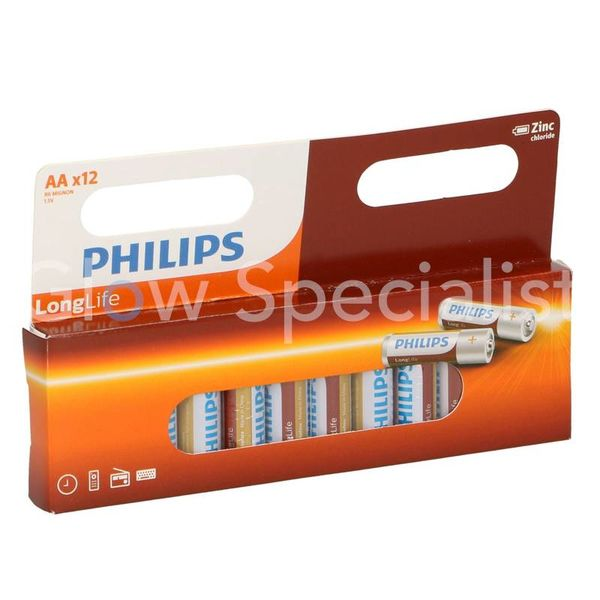 PHILIPS BATTERY R6 AA LONGLIFE - 12 PACK