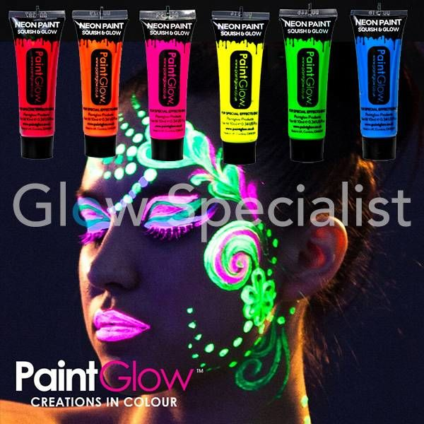 PAINTGLOW BLACKLIGHT FACE & BODY PAINT KIT - SET VAN 6 TUBES