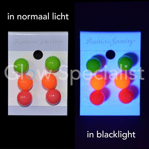 UV/BLACKLIGHT NEON OORBELLEN - SET VAN 3 PAAR
