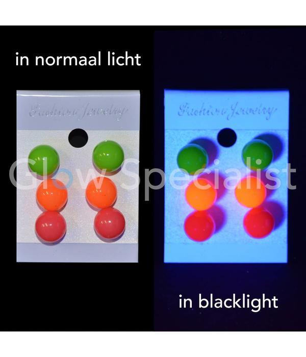 UV / BLACKLIGHT NEON EARRINGS - SET OF 3 PAIR