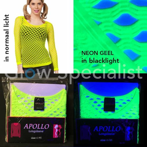 UV / BLACKLIGHT NEON SHIRT WITH BIG HOLES - YELLOW