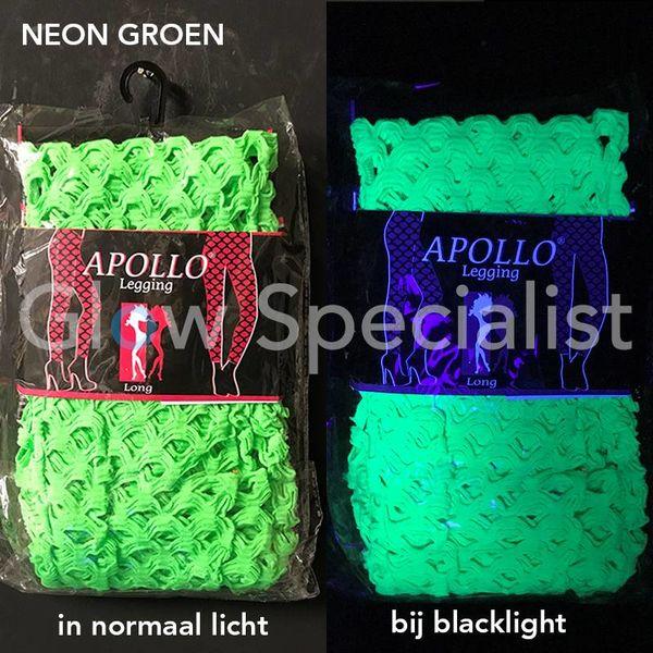 UV / BLACKLIGHT NEON  LEGGING - MET GROTE GATEN - GROEN