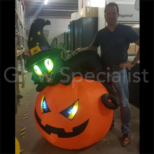 Europalms INFLATABLE PUMPKIN WITH HELLCAT - 150 CM