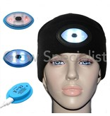 BLACK BEANIE HAT/CAP WITH WHITE AND MULTICOLOR LED - RECHARGEABLE VIA USB