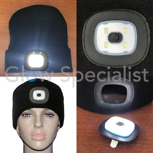 BLACK BEANIE HAT/CAP WITH LED