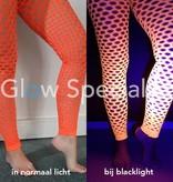 UV / BLACKLIGHT NEON LEGGING - MET GROTE GATEN - ORANJE