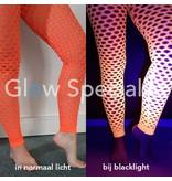 UV / BLACKLIGHT NEON LEGGING - WITH BIG HOLES - ORANGE
