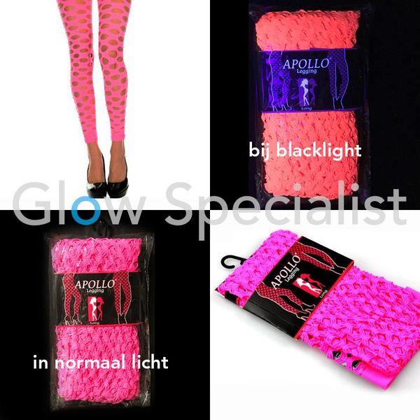 UV / BLACKLIGHT NEON LEGGING - WITH BIG HOLES - PINK