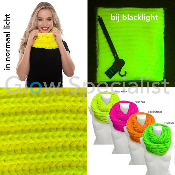 UV / BLACKLIGHT KNITTED SNOOD - NEON YELLOW