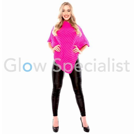 UV / BLACKLIGHT KNITTED PONCHO - NEON PINK