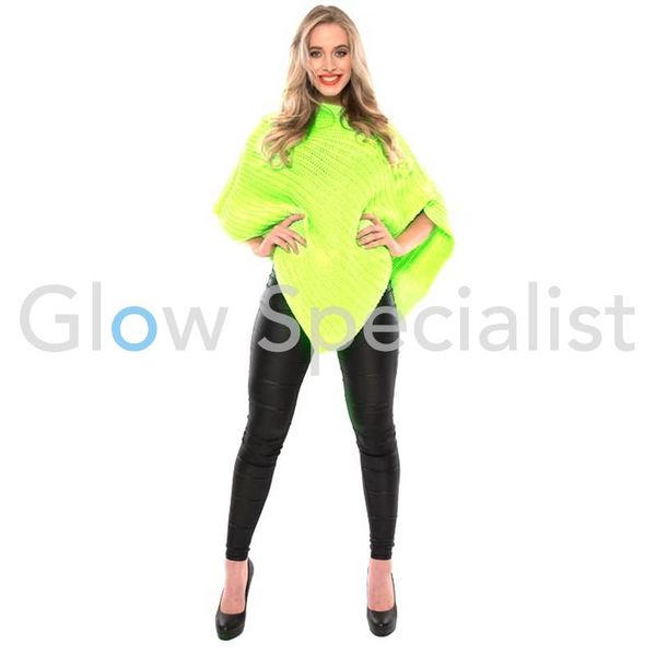 UV / BLACKLIGHT KNITTED PONCHO - NEON GREEN