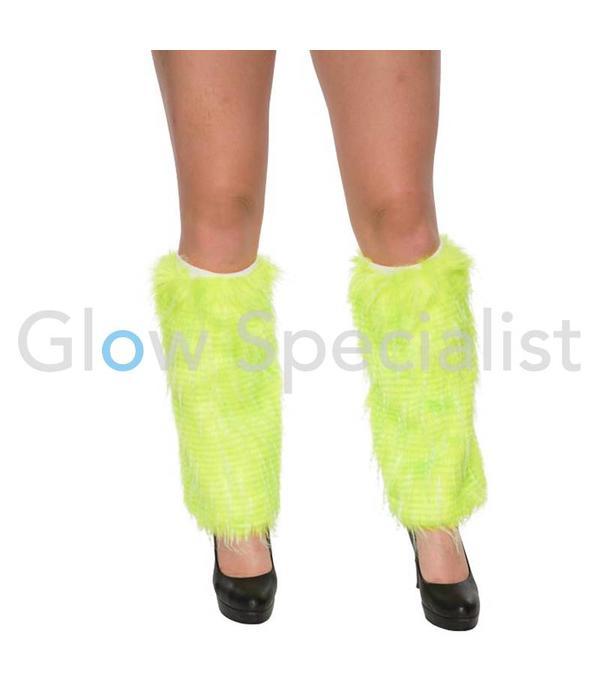 UV / BLACKLIGHT LEG WARMERS FUR - NEON GREEN