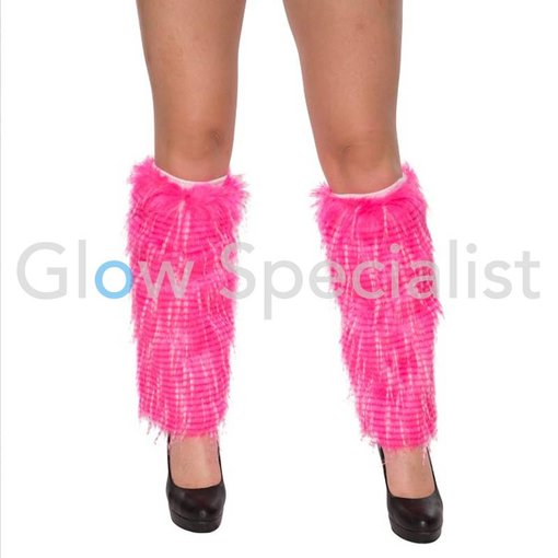 UV / BLACKLIGHT LEG WARMERS FUR - NEON PINK