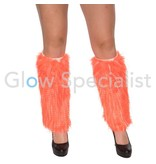 UV / BLACKLIGHT LEG WARMERS FUR - NEON ORANGE
