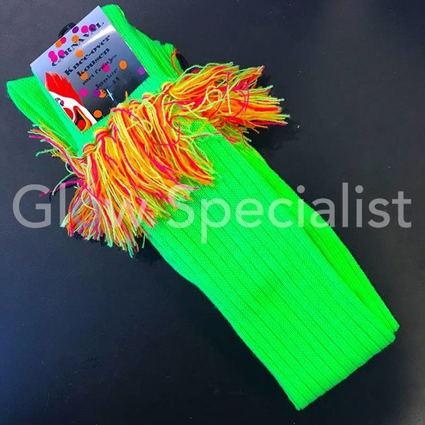 UV / BLACKLIGHT OVER KNEE SOCKS WITH FRINGES - NEON GREEN
