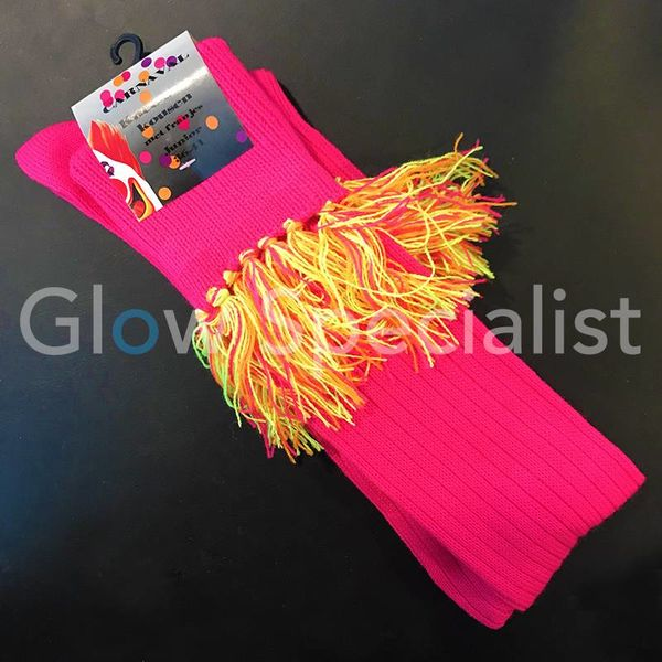 UV / BLACKLIGHT OVER KNEE SOCKS WITH FRINGES - NEON PINK