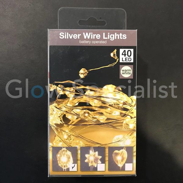 SILVER WIRE LIGHT - 40 DIAMOND LEDS - WARM WHITE