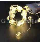 ZILVERDRAAD VERLICHTING MET BLOEMETJES - 40 LED - WARM WIT