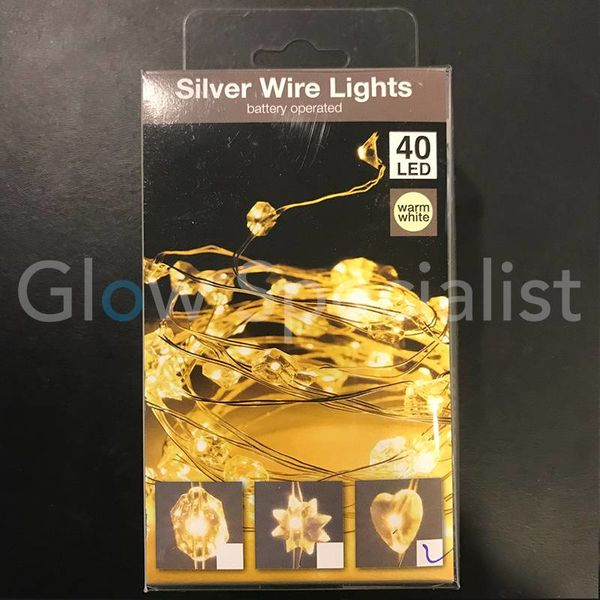 SILVER WIRE LIGHT - 40 HEART LEDS - WARM WHITE