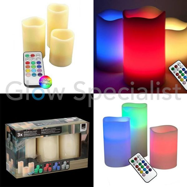 LED CANDLE SET MULTICOLOR - SET OF 3 - WITH REMOTE CONTROL