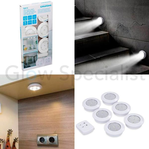 WIRELESS LED PUSH LIGHTS WITH REMOTE CONTROL AND TIMER - 6 PCS