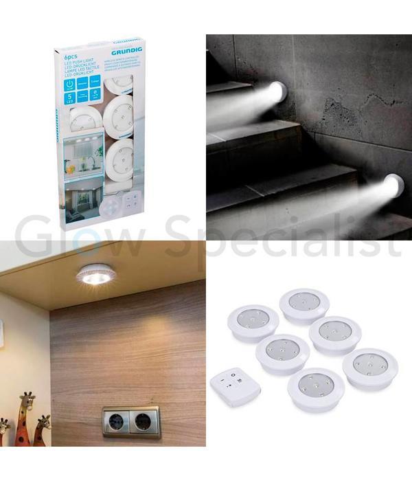 grundig draadloze led dimbare druklampen met afstandsbediening en timer 6 stuks