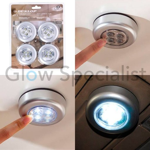 Dunlop WIRELESS LED PUSH LIGHTS - BRIGHT WHITE - 4 PIECES
