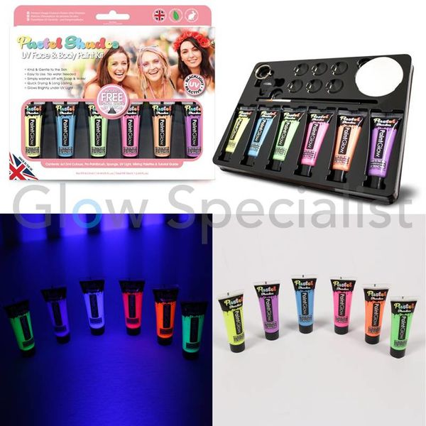 PAINTGLOW UV FACE & BODY PAINT KIT - PASTEL SHADES