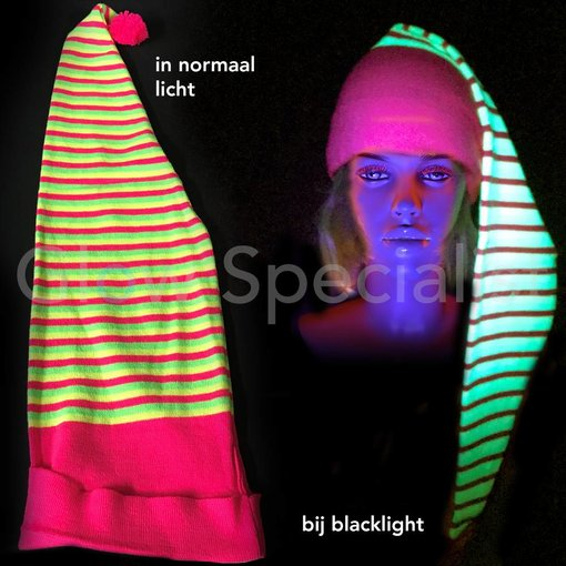 UV / BLACKLIGHT STRIPED NEON NIGHT CAP