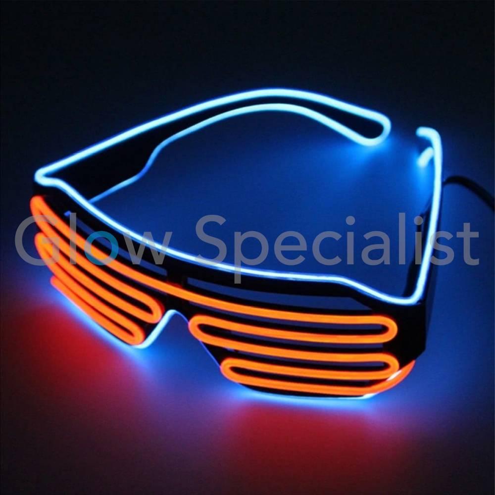 EL-WIRE SHUTTER GLASSES - BLACK FRAME - RED-ORANGE/BLUE LED - Glow ...