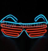 EL-WIRE SHUTTER GLASSES - BLACK FRAME - RED-ORANGE/BLUE LED