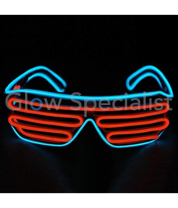 EL-WIRE SHUTTER BRIL - ZWART MONTUUR  - ROOD-ORANJE/BLAUW LED